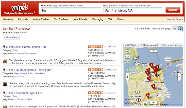 Yelp business searches