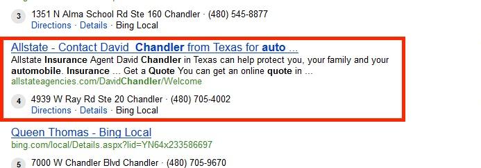 New Bing search results - meta description