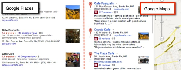 Google Places & Google Maps aligning
