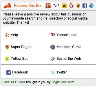 Online reviews tools - ReviewBiz badge
