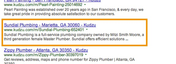 Local business listing pages indexed on citation sites