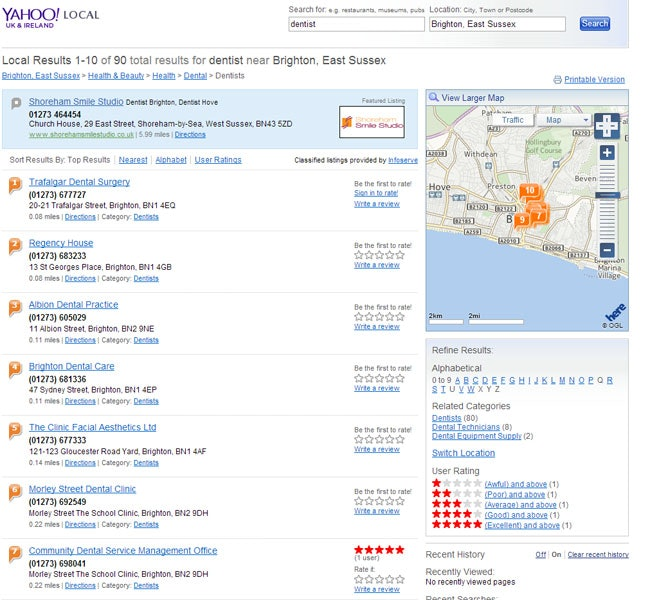 Yahoo Updates Local Search Result Designs & Content - 0