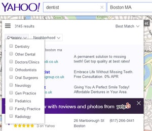 yahoo local results categories