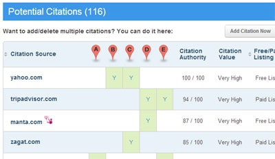 Brightlocal Citation Tracker report