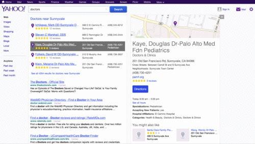 Yahoo displaying Yelp local reviews