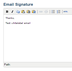 Email signature in White Label Email Reporting