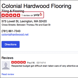 Reviews from Yelp on Yahoo Maps