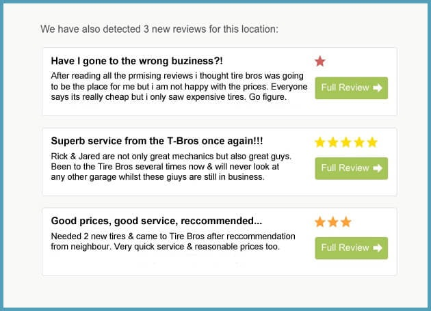 Receive email alerts for new reviews