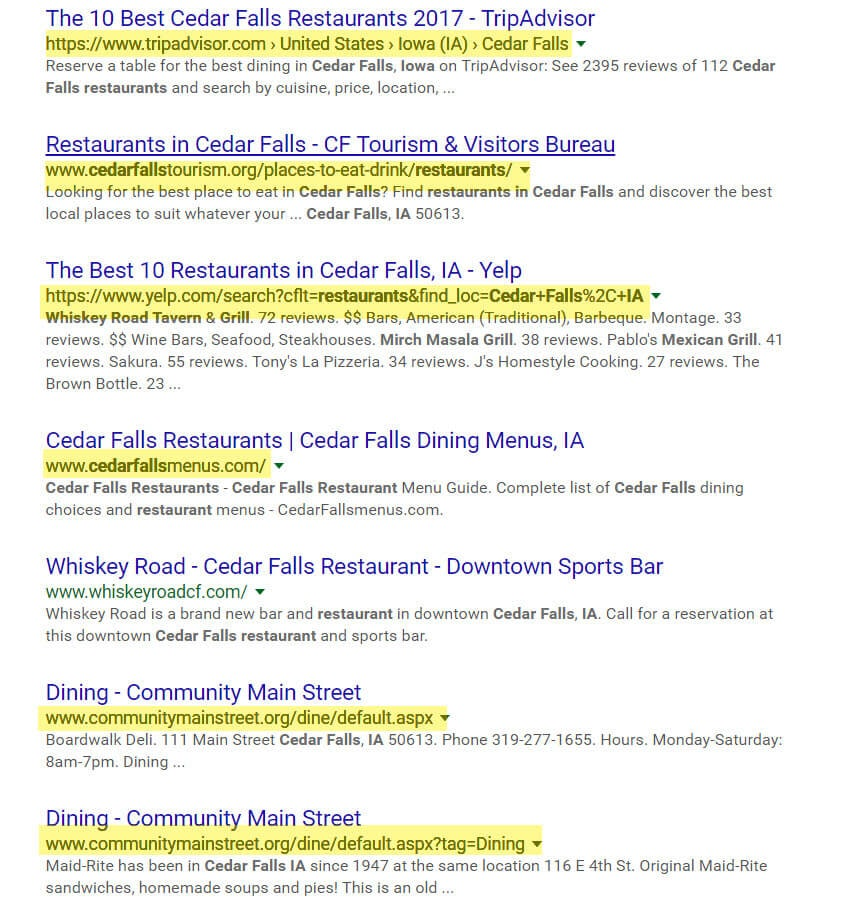 Online directories in local search results