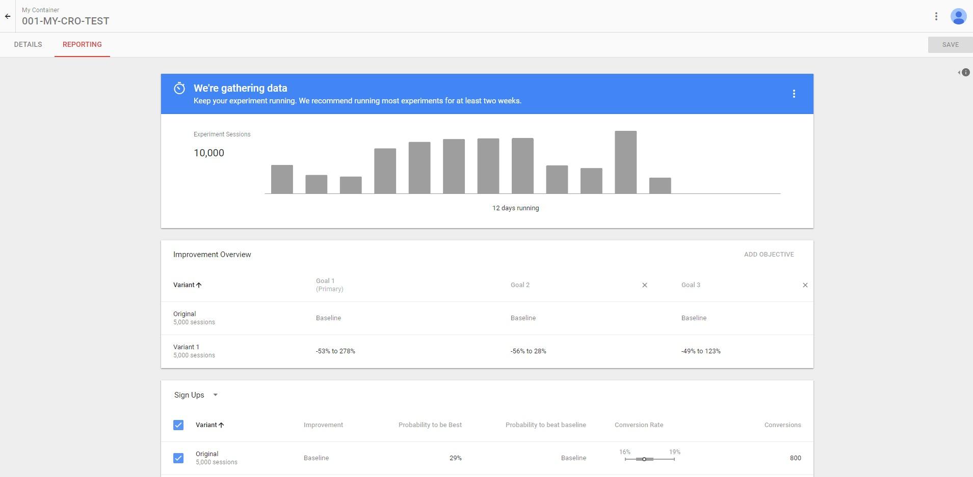 Google Optimize screenshot