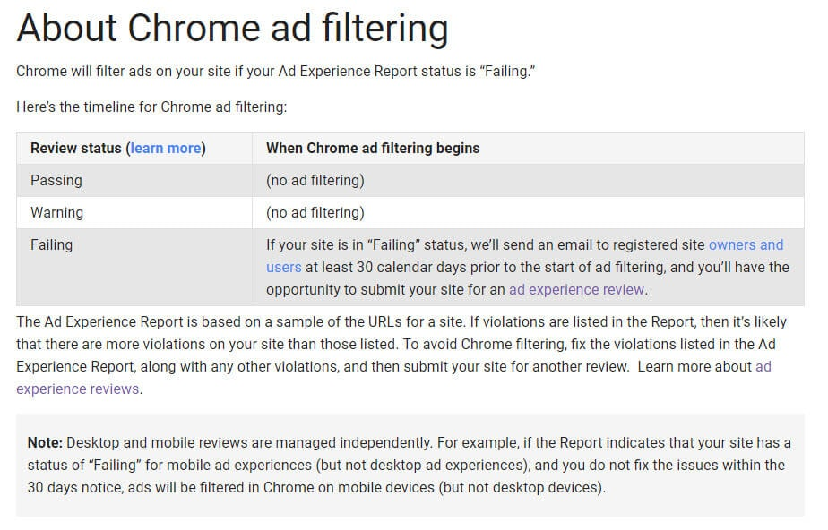 About Chrome Ad Filtering