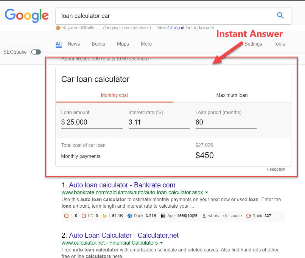 Google Instant Answers