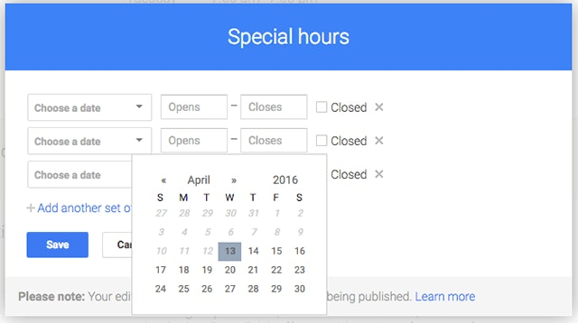How to set Google My Business special Christmas Hours