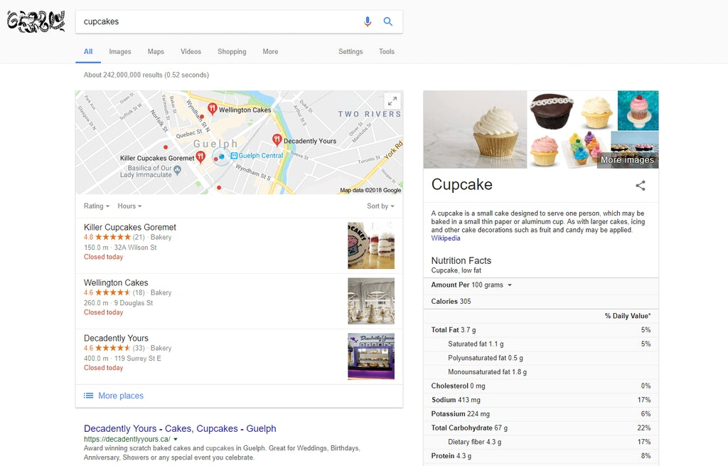 Example of Cupcakes Search Rich Snippet