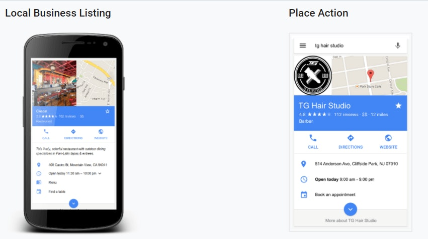 Local Business Listing and Place Action