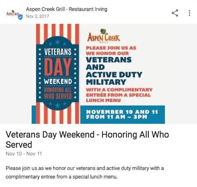 Veterans Day Google Post