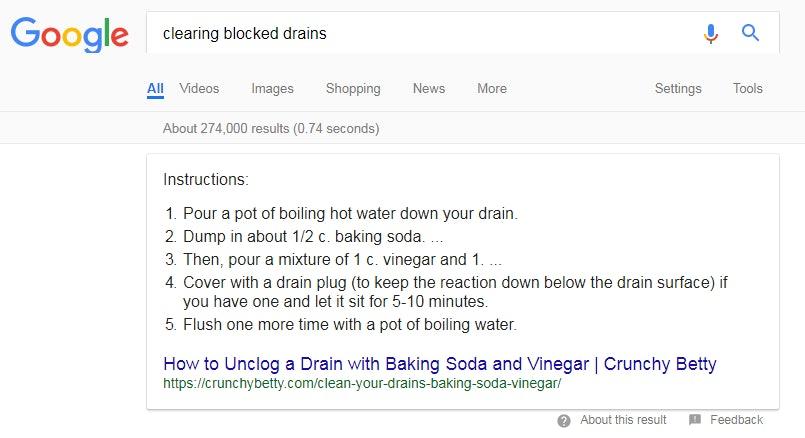 Google Blocked Drain Screenshot 2