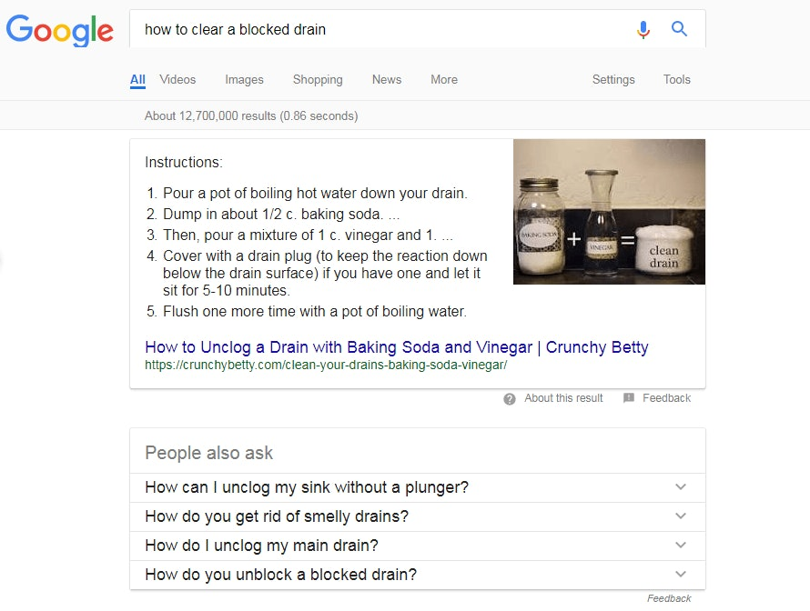 Google Blocked Drain Screenshot