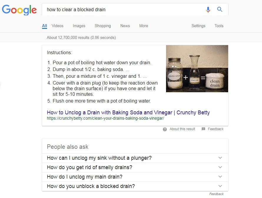 Google Blocked Drain Screenshot