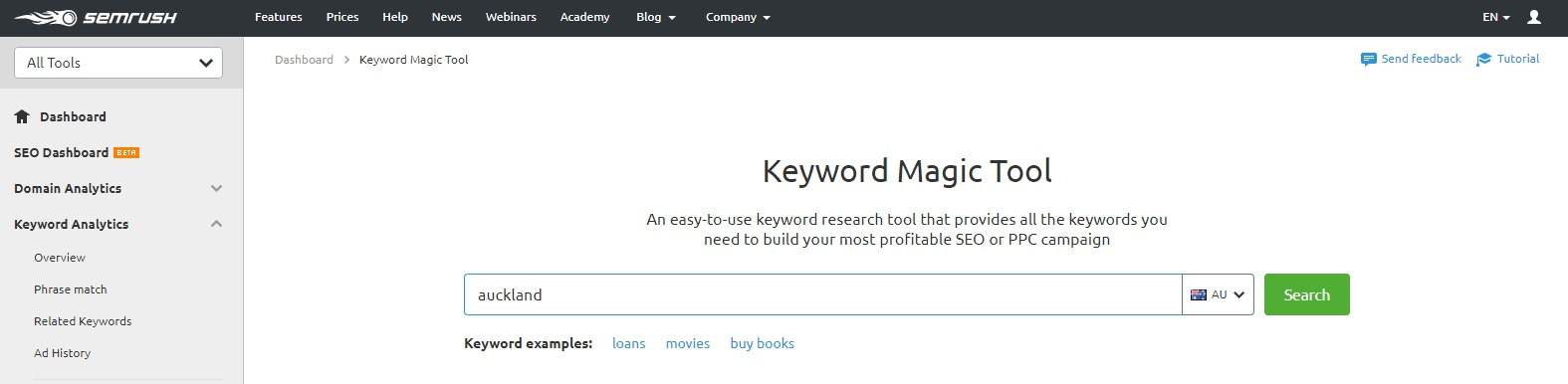 Keyword Magic screenshot