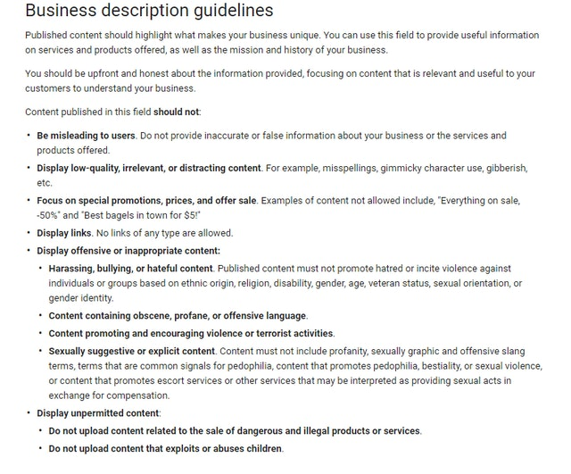 Google My Business description guidelines
