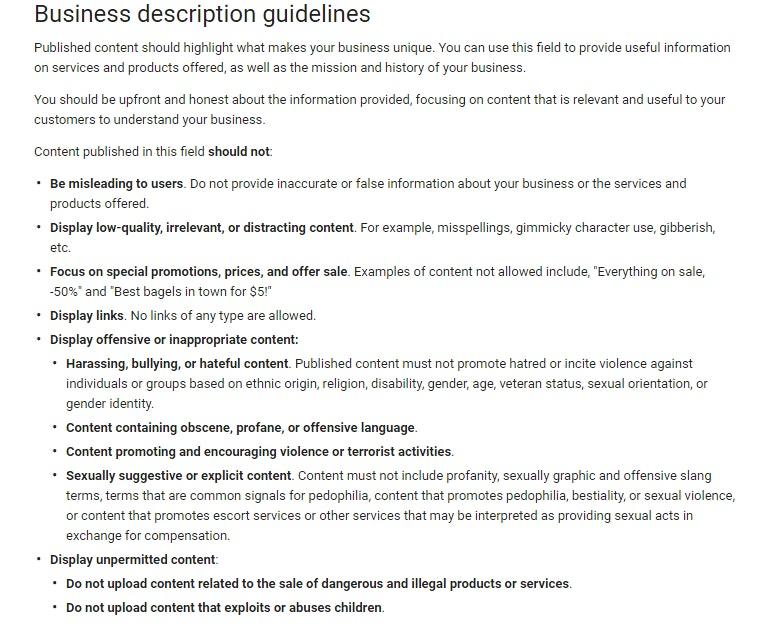 Google My Business (GMB) description guidelines
