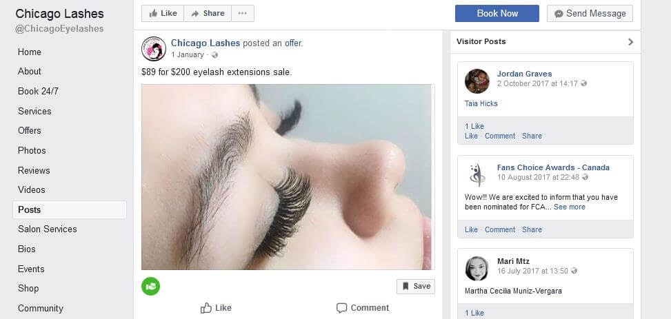 Chicago Lashes Facebook