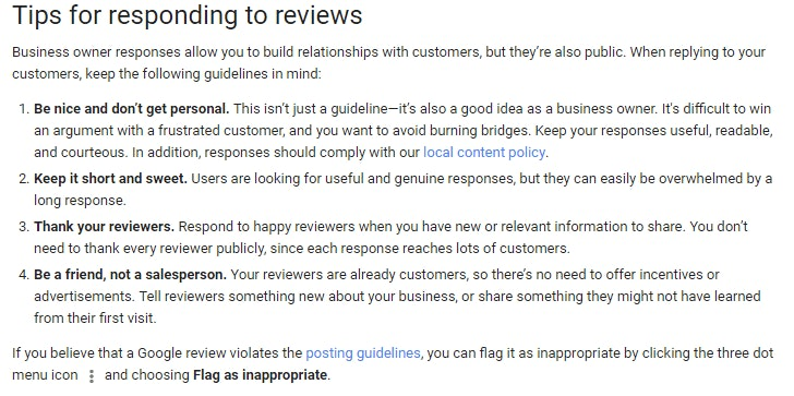 Google's Tips on How to Respond to a Review