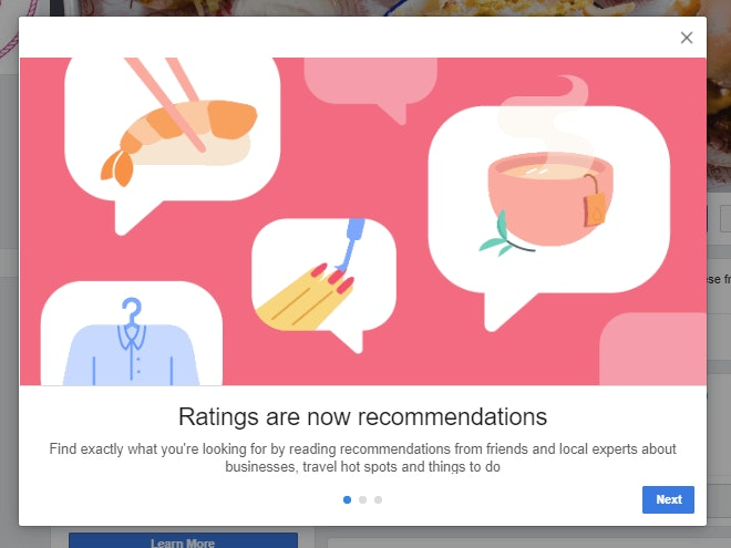 Facebook ratings are now recommendations