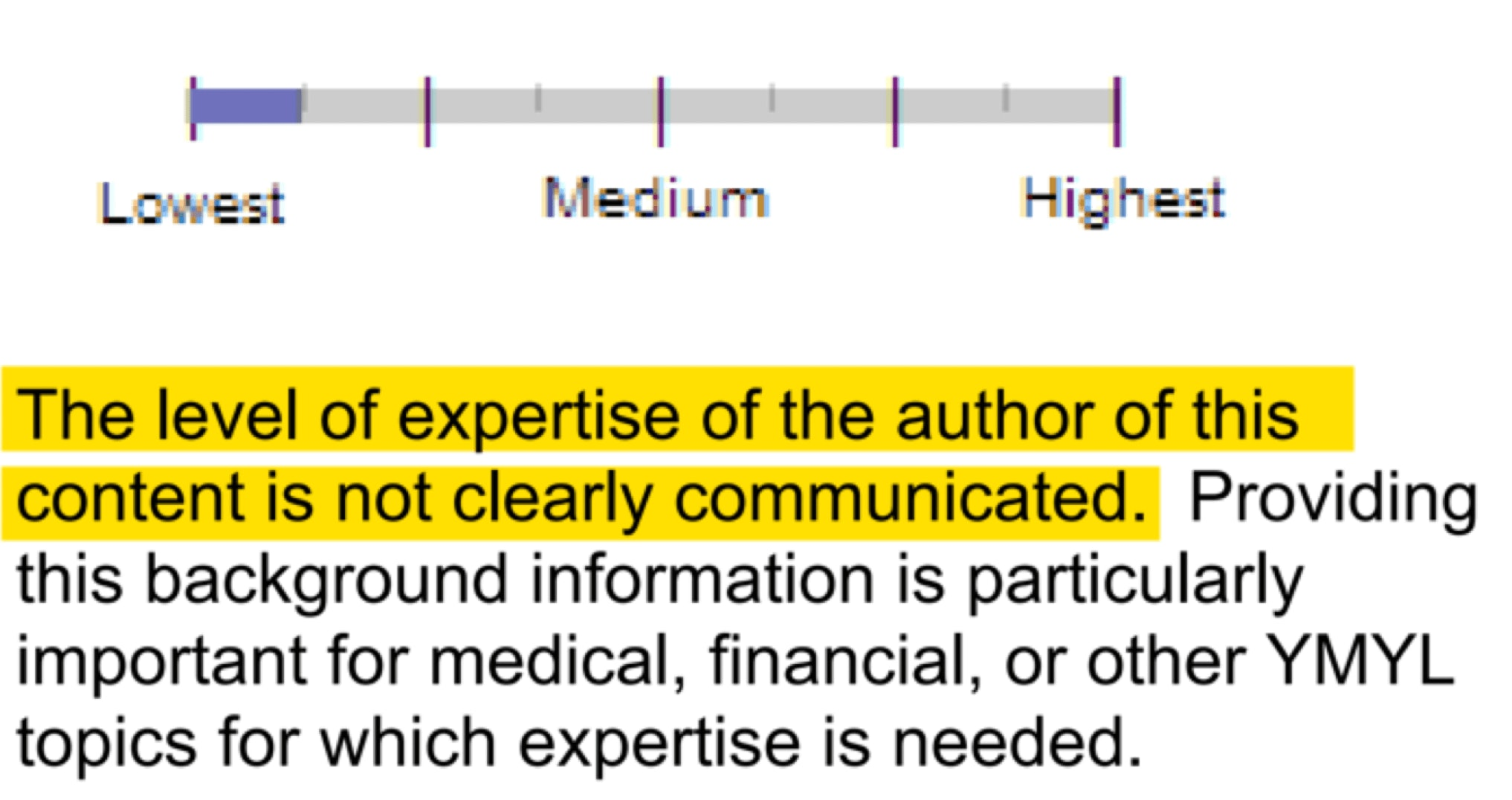 Google Quality Raters' Guidelines Author E-A-T no expertise