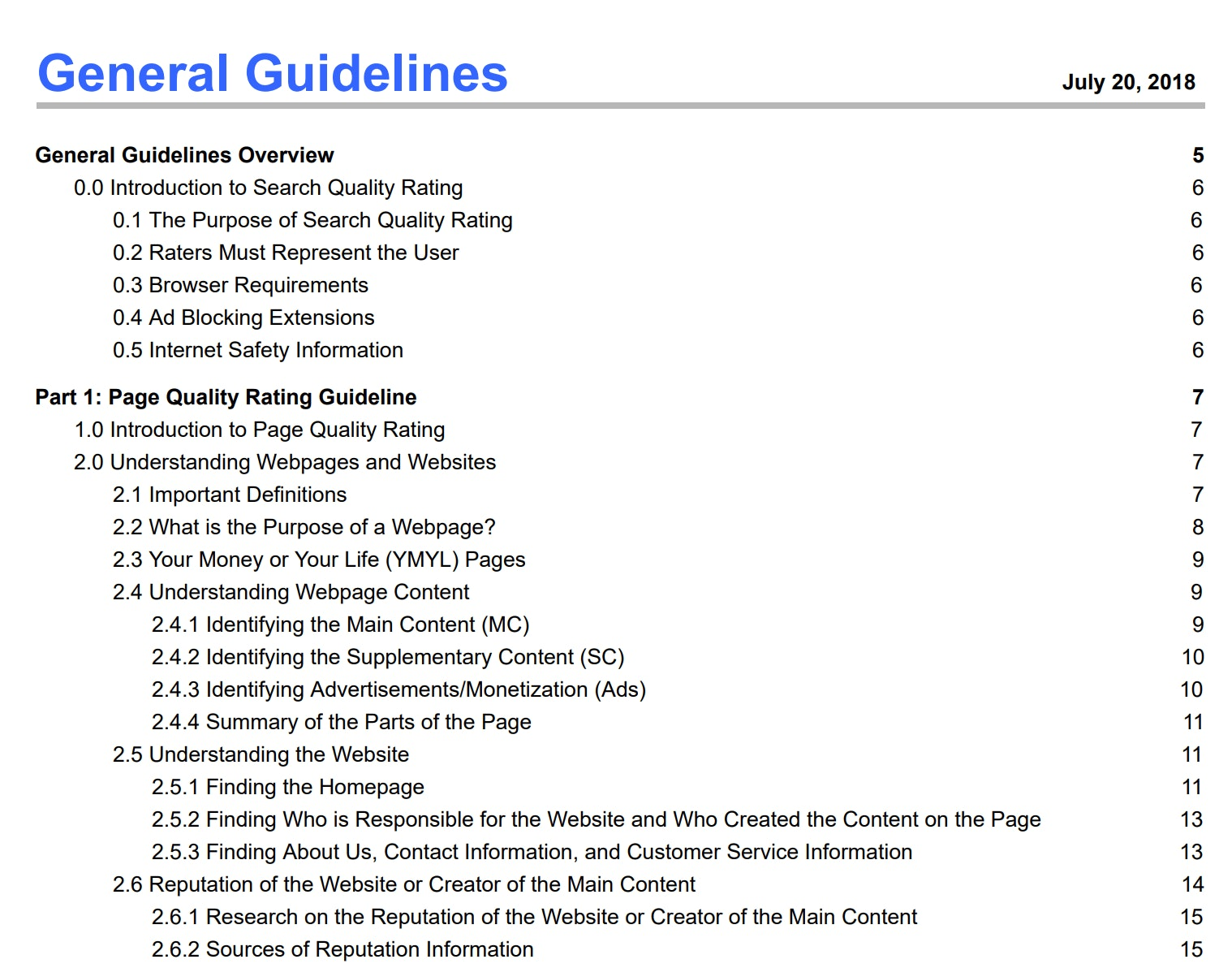 Google Quality Raters' Guidelines