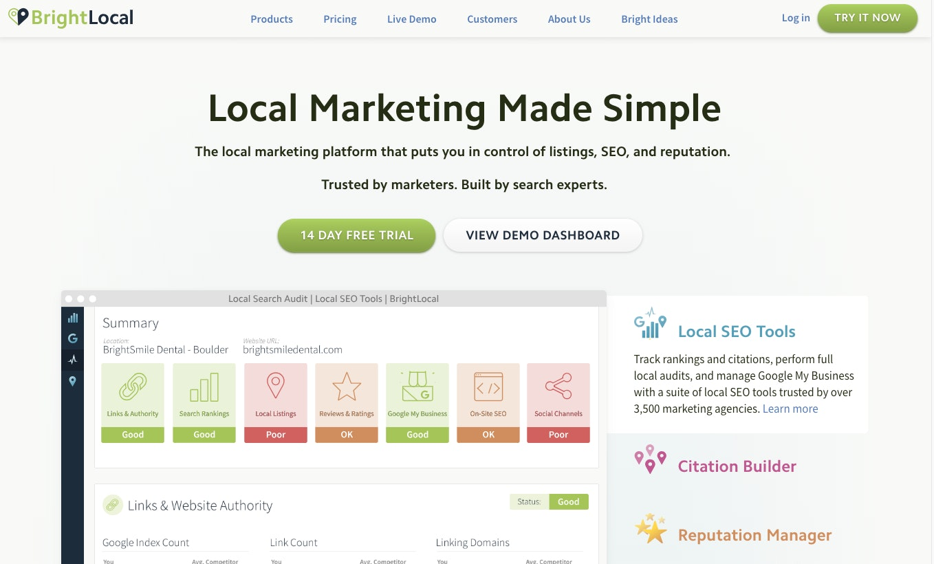 BrightLocal Homepage Screenshot