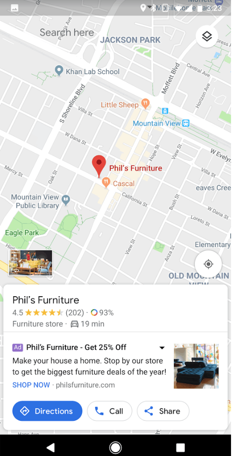 Google Map ads based on location