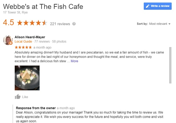 Google review example - Webbe's