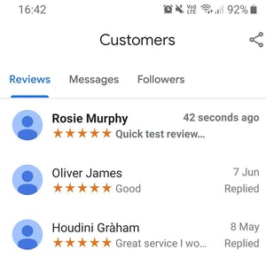 Google reviews examples