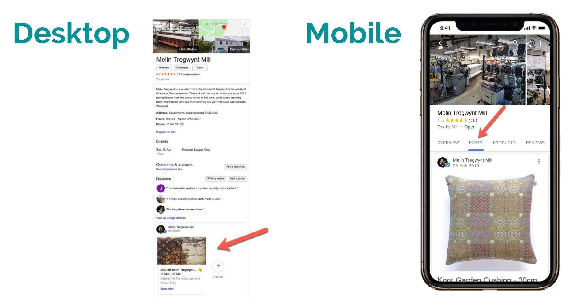 Desktop and Mobile GMB Posts