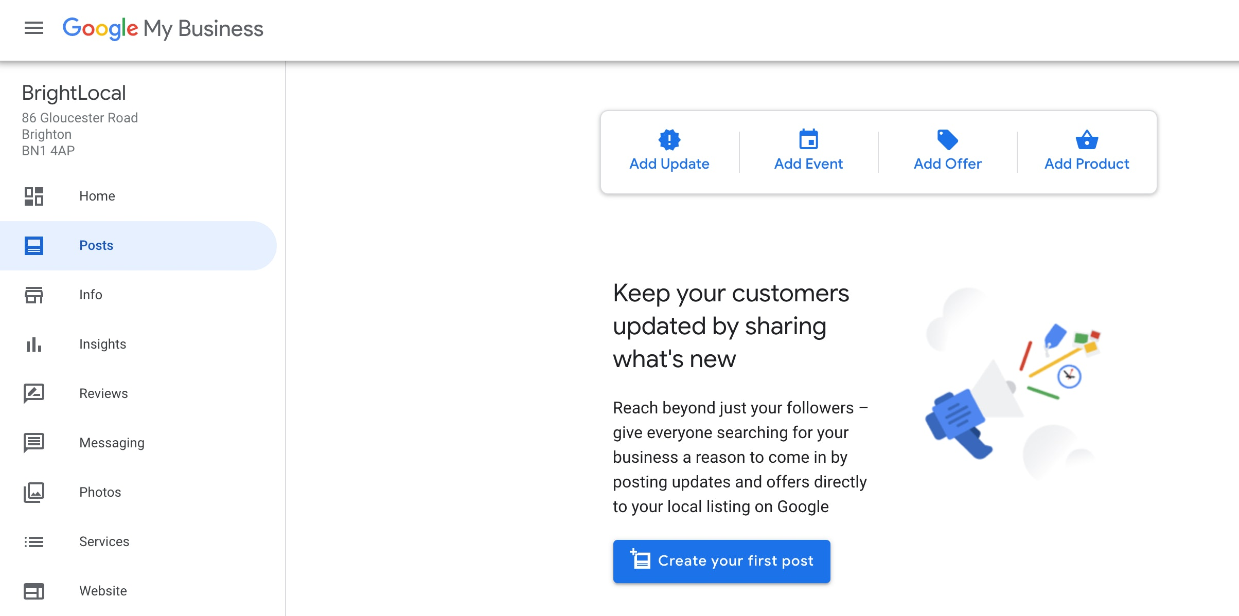 Google My Business Add Post