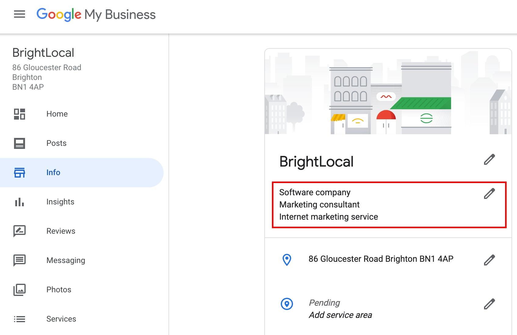 Google My Business categories screenshot