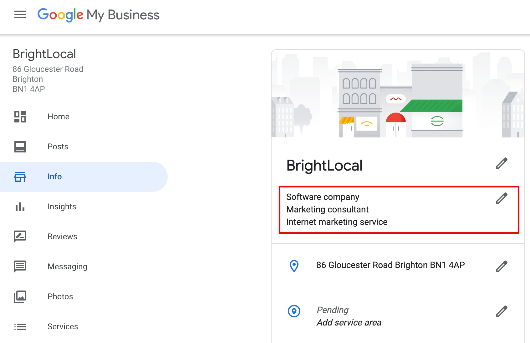 Google My Business categories screenshot