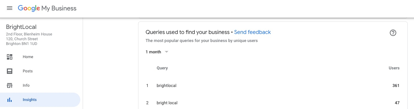 GMB Insights queries used to find your business