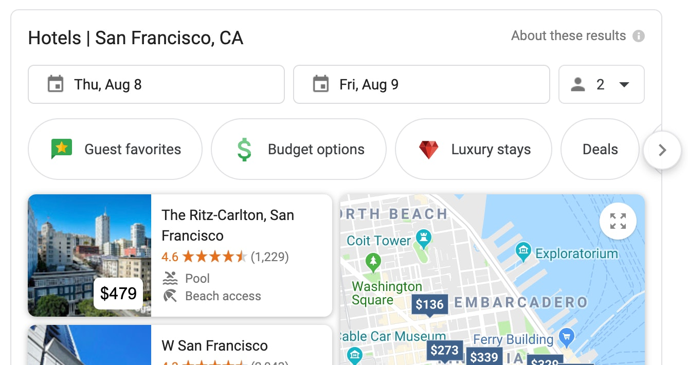 Local hotel search san francsico