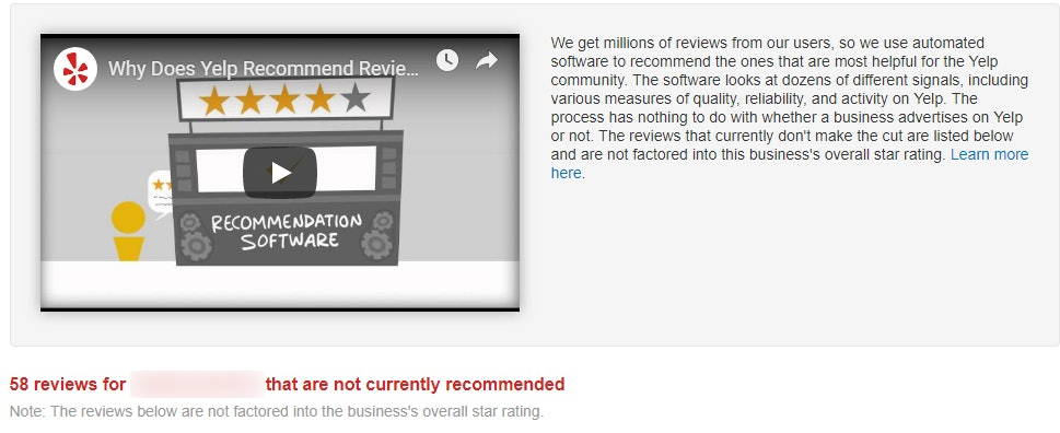 Not Recommended Reviews Yelp