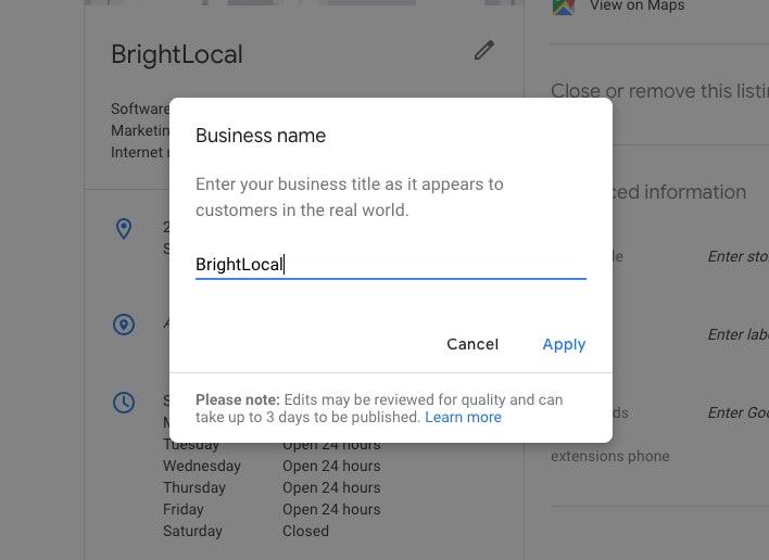 Edit Business Name