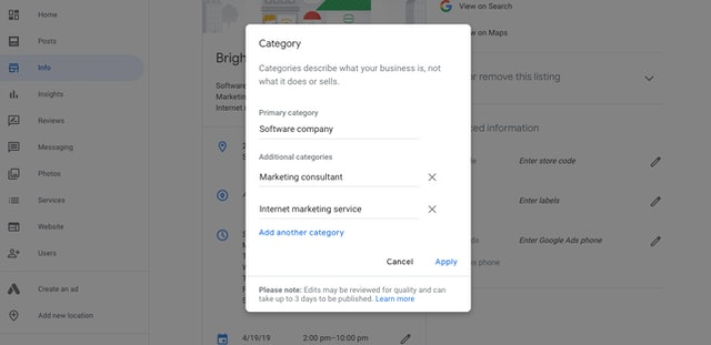 Edit Google Business Categories