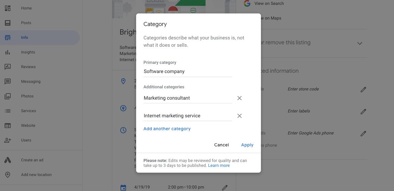 Edit Business Categories
