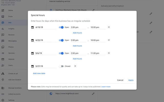 Edit Google business listing special hours