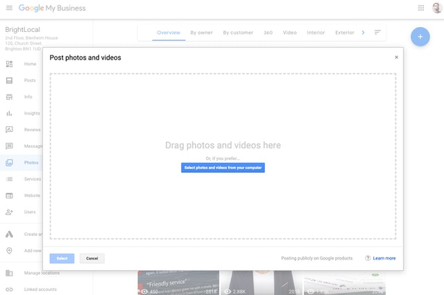 Edit Google business listing photos
