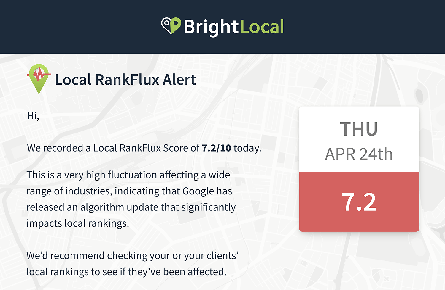 Local RankFlux email alert