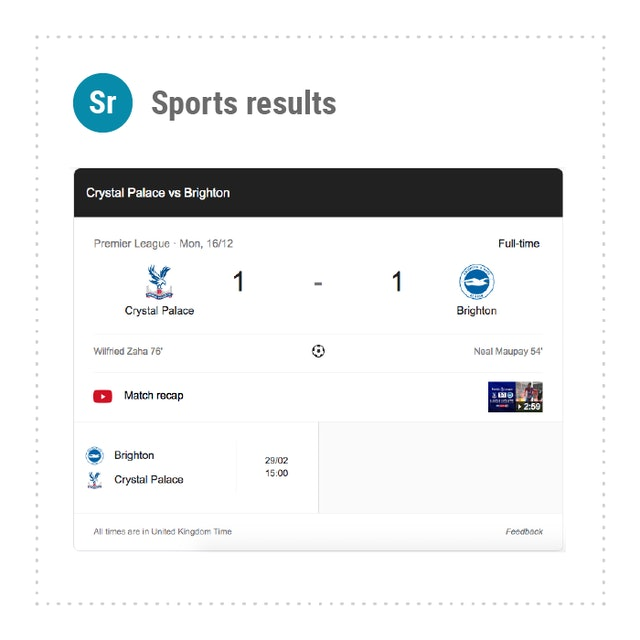 Sports Results in SERPs
