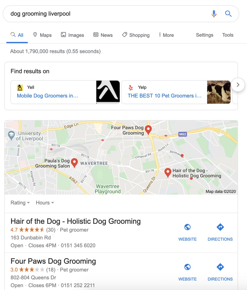 Dog grooming EU SERP